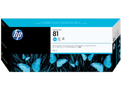 HP 81 680-ml Cyan DesignJet Dye Ink Cartridge