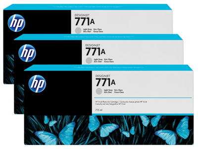 HP 771A 3-pack 775-ml Light Gray DesignJet Ink Cartridges