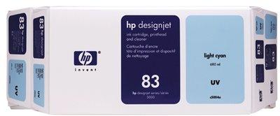 HP 83 Value Pack 680-ml Light Cyan DesignJet UV Ink Cartridge and Printhead