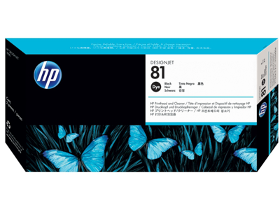 HP 81 Black DesignJet Dye Printhead and Printhead Cleaner