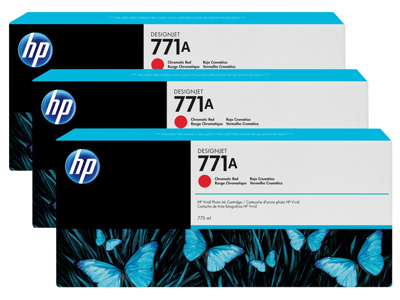 HP 771A 3-pack 775-ml Chromatic Red DesignJet Ink Cartridges