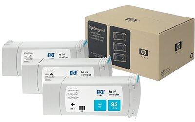 HP 83 3-pack 680-ml Cyan DesignJet UV Ink Cartridges