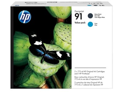 HP 91 Value Pack 775-ml Matte Black/Cyan DesignJet Ink Cartridges/Printhead