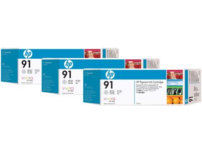 HP 91 3-pack 775-ml Light Gray DesignJet Pigment Ink Cartridges