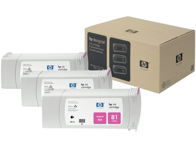 HP 81 3-pack 680-ml Magenta DesignJet Dye Ink Cartridges