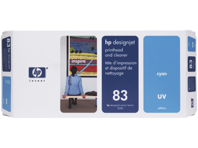 HP 83 Cyan DesignJet UV Printhead and Printhead Cleaner