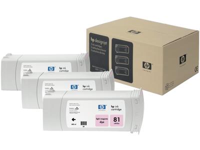 HP 81 3-pack 680-ml Light Magenta DesignJet Dye Ink Cartridges