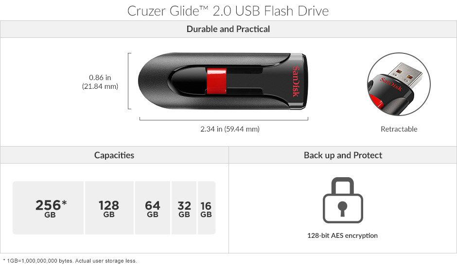 <p> محرك أقراص USB محمول من نوع Cruzer Glide ™ 2.0 </p>
