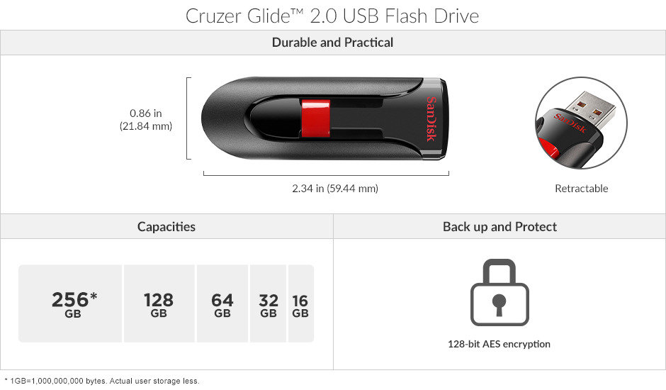 <p>Cruzer Glide™ 2.0 USB Flash Drive</p>