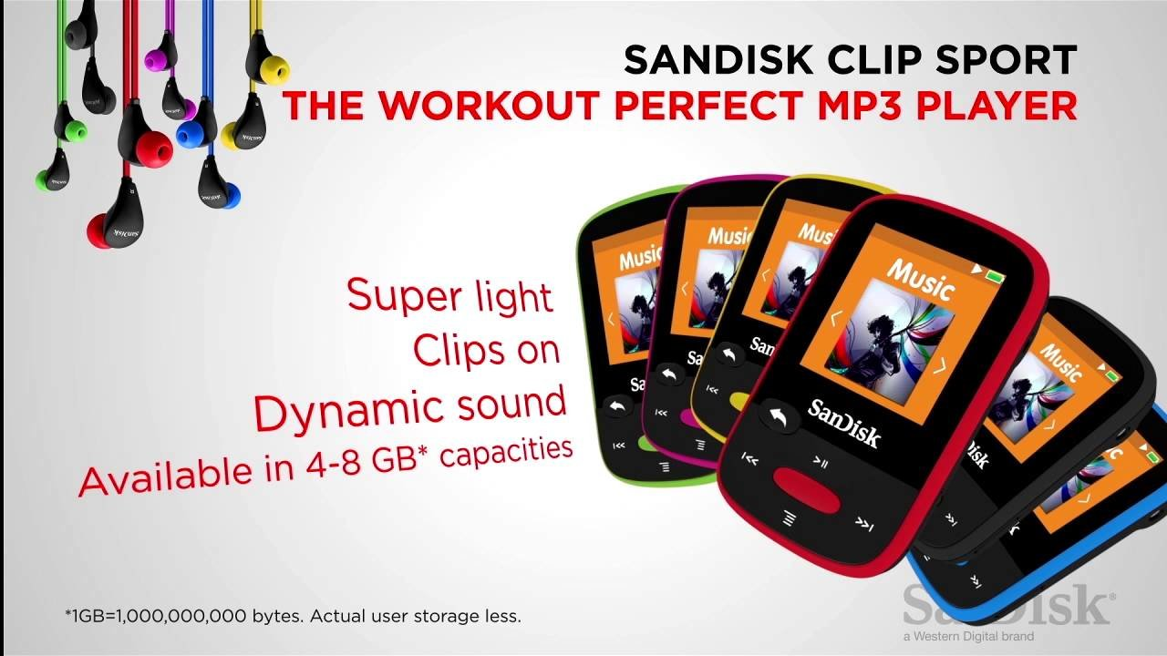 SanDisk 8GB Clip Sport MP3 Player (Black) | Canada Computers