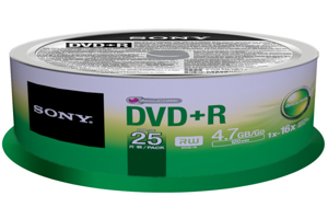 16X DVD+R Recordable DVD Media (4.7GB) - 25 Pack Spindle