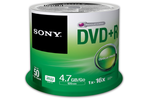 16X DVD+R Recordable DVD Media (4.7GB) - 50 Pack Spindle